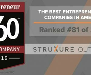 Graphic showing StruXure's 81st place ranking in 2019 Entrepreneur 360