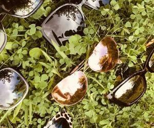Six different sunglasses lying in green clover