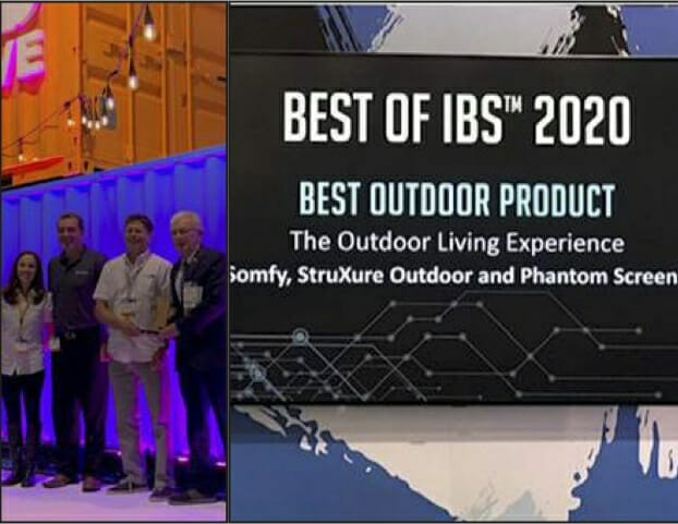 Spliced picture with four people standing against glowing blue background on left and close-up of Best of IBS 2020 Award slide on right