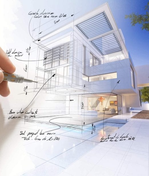 Mostly white rendering of two story house with louvers roof pergola drawn in and call-outs with hand holding drafting pencil as if drawing in real time