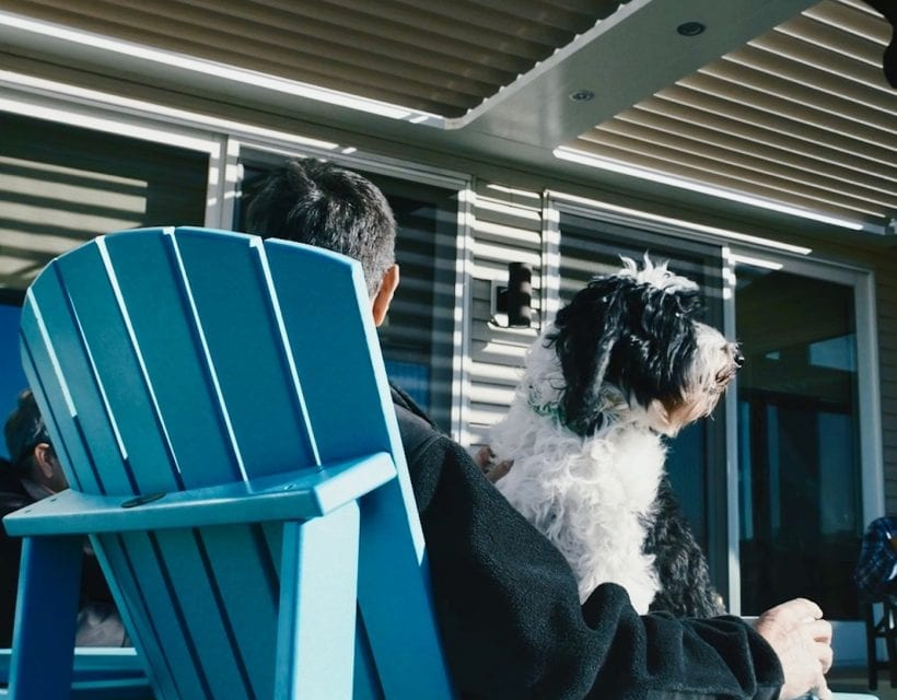 Man in blue Adirondak chair holding black and white dog on lap under louvered roof outdoor structure