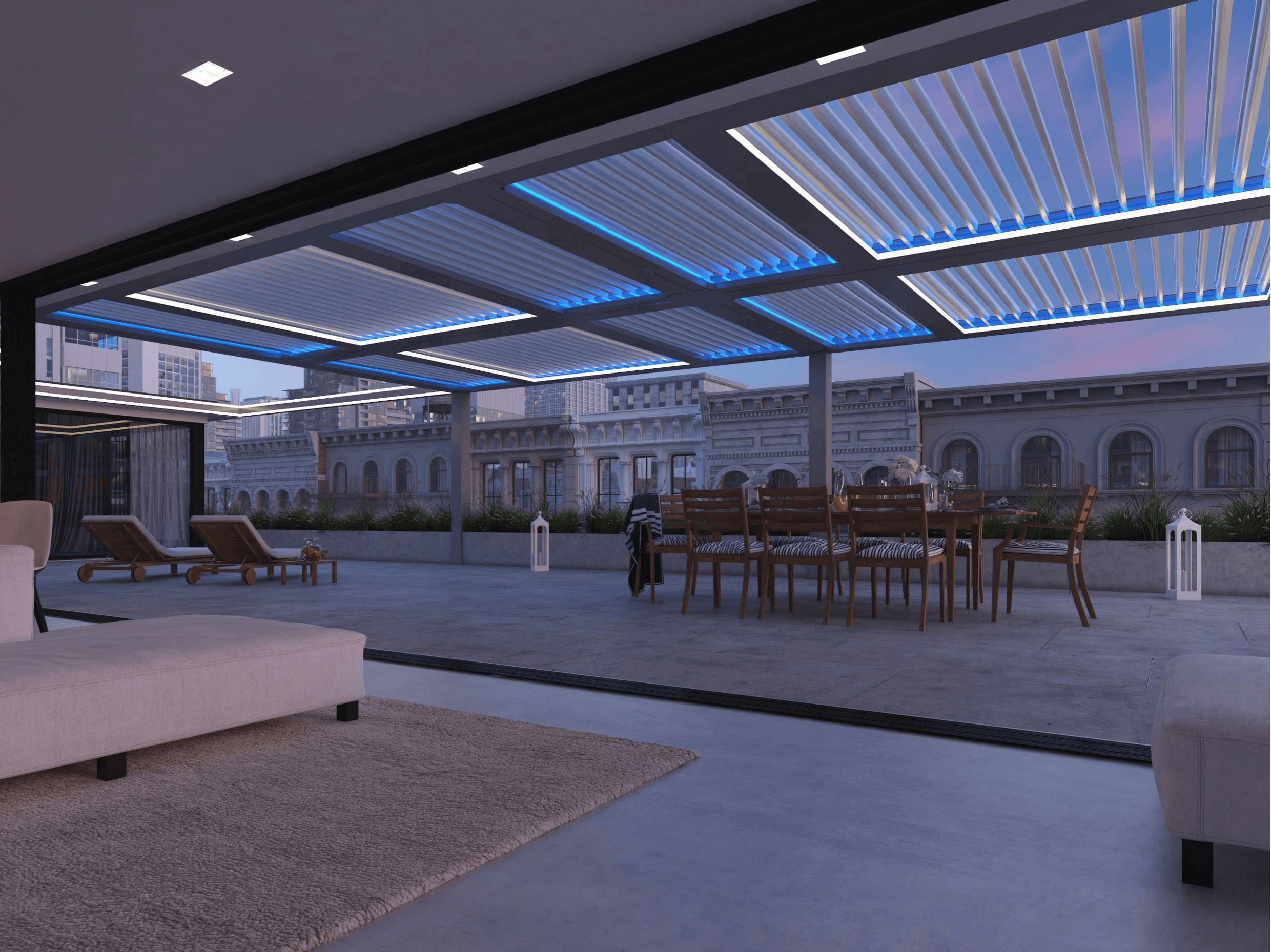 Evening under opened pergola louvers with blue and white track lighting around louvers in urban terrace landscape