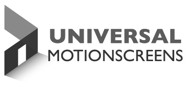 Black and gray Universal MotionScreens logo