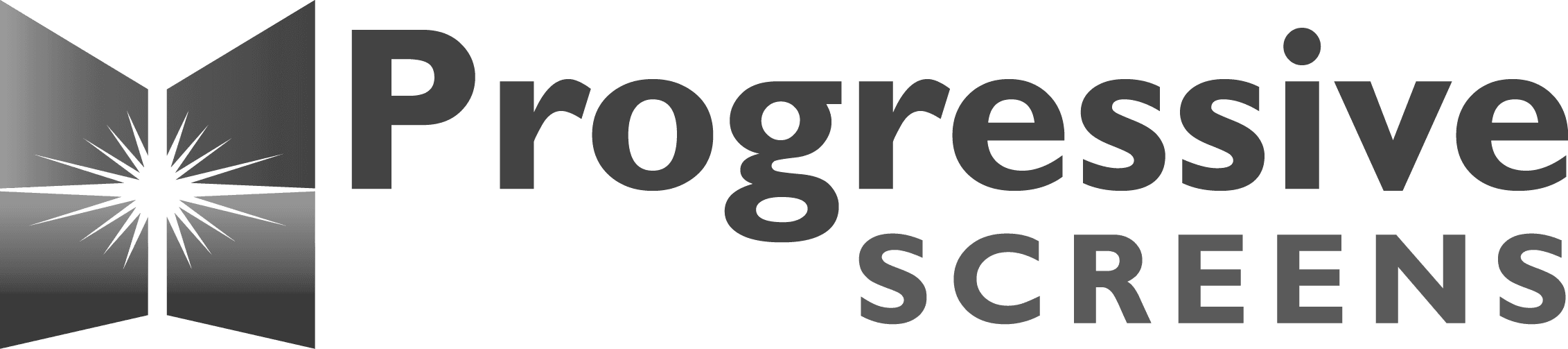 Black and gray Progressive Screens logo