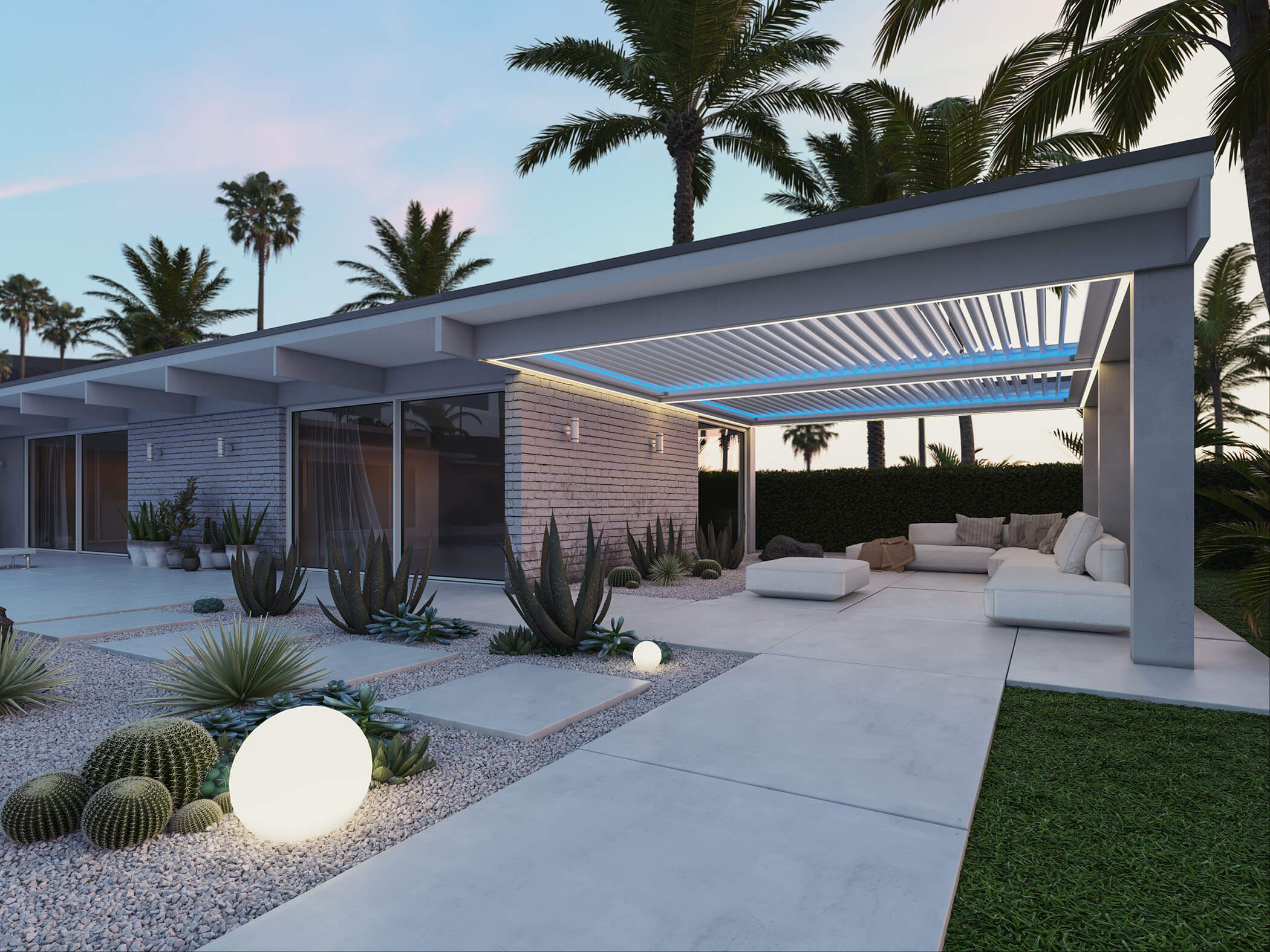 StruXure Pergola X with TraX system that includes blue track lights around roof louvers