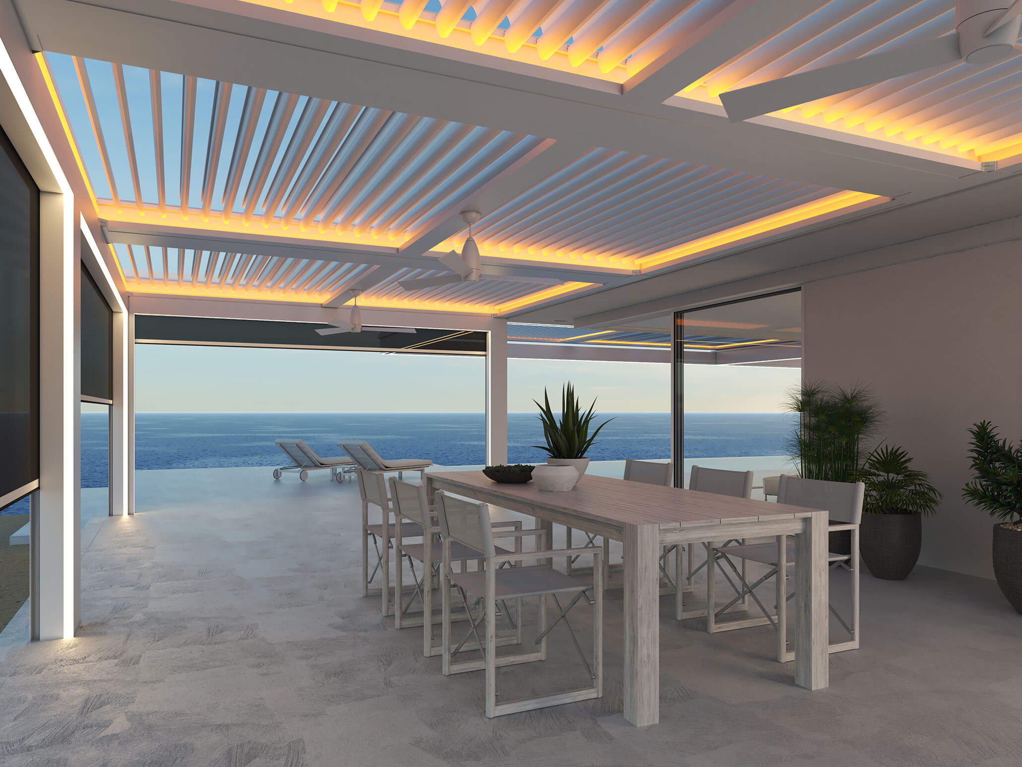 Enhanced white pergola over white patio furniture with golden light glowing around edges of pivotable louvers with screens partially down on left and view to ocean straight ahead