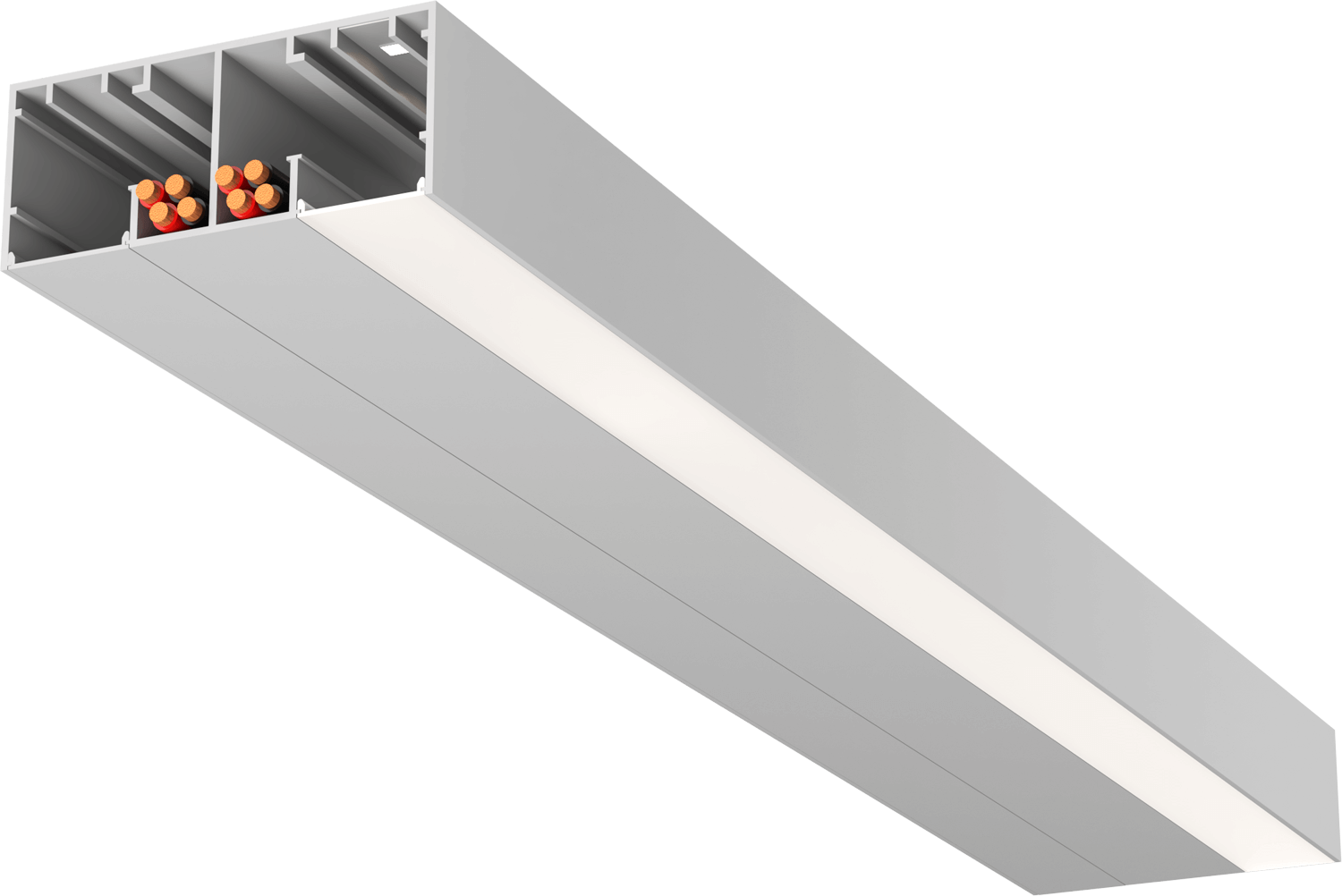Double metal beam opened at end to reveal cable management and strip lighting as part of StruXure's TraX system
