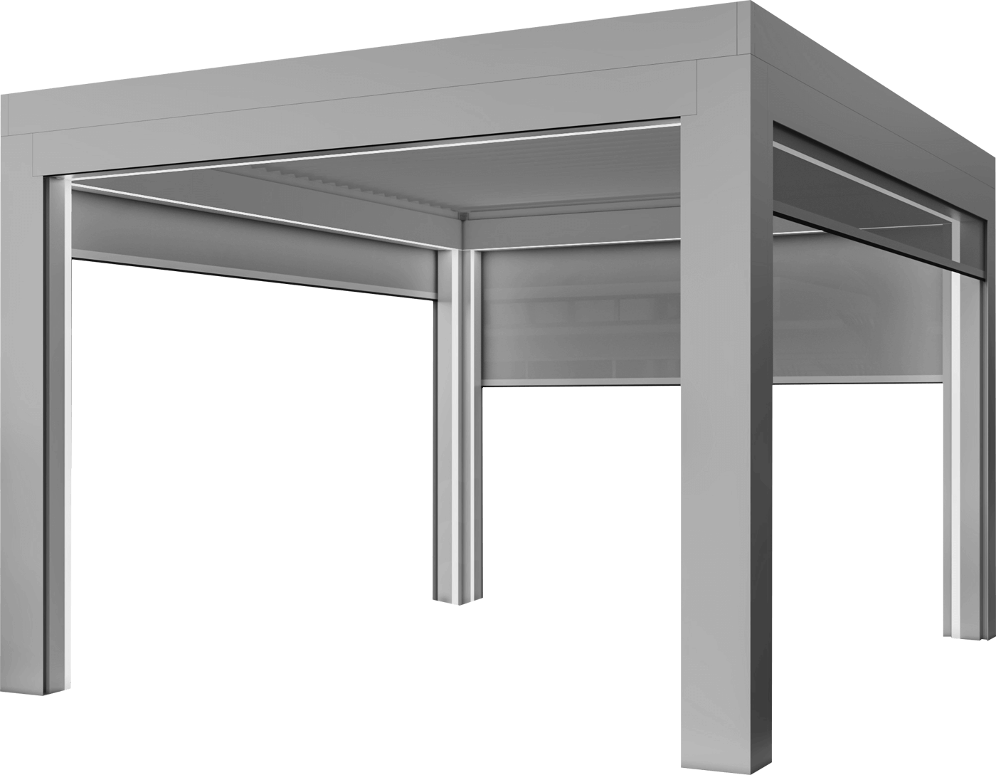 Rendered gray pergola with light strips around frame and screens partially deployed on three sides