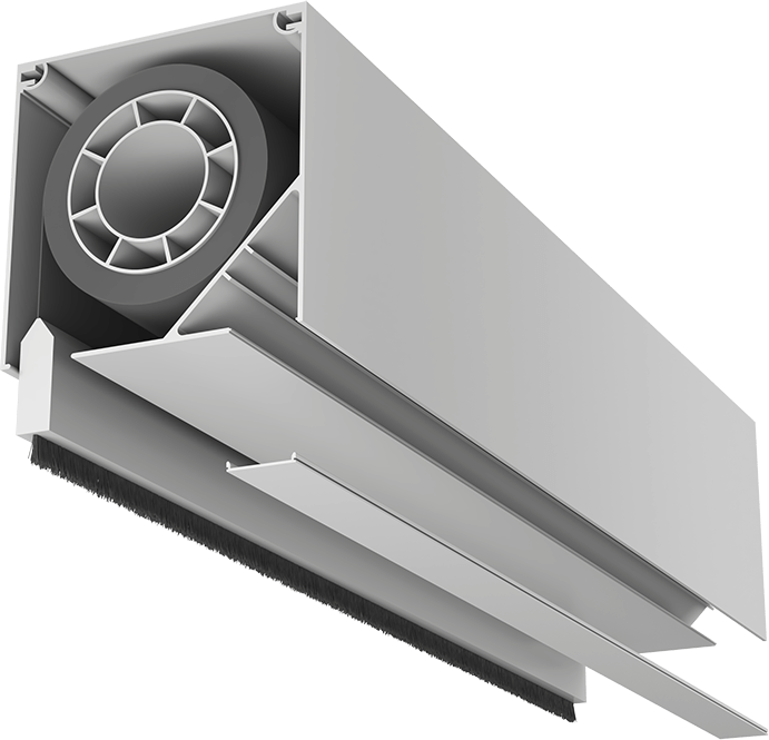 Close up section of beam showing retracted screen with weighted edge coming out of beam