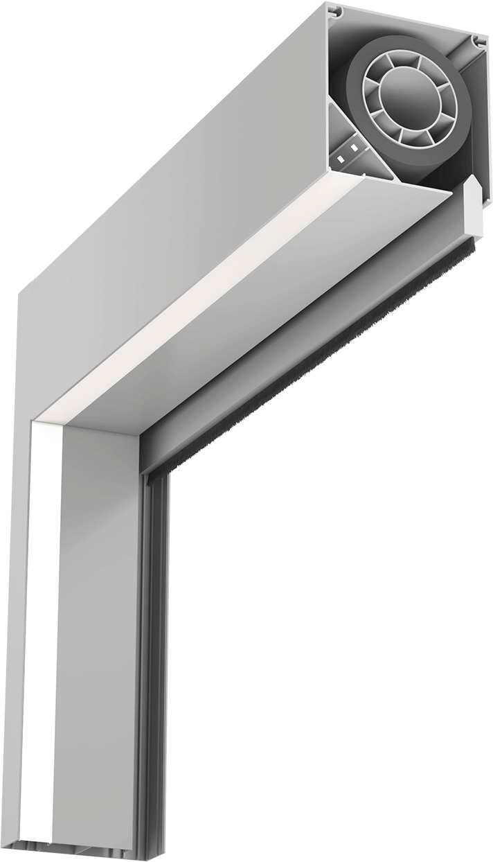 Alternative section of beam showing strip lighting and retracted screen with weighted edge coming out of beam